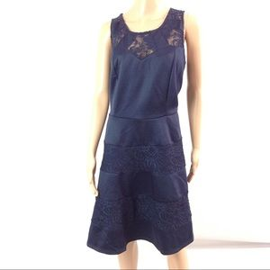 Three Pink Hearts Fit & Flare Dress Size 2X Navy